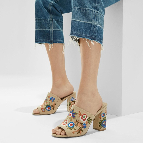 ALDO Shoes - Aldo 'Yaessi' embroidered cream mules